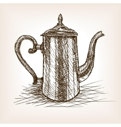Tea pot vintage hand drawn sketch style vector image