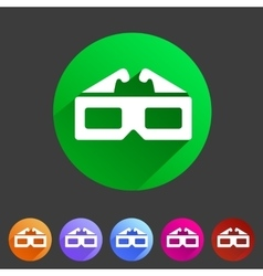 Three-dimencional glasses anaglyph movie icon flat vector