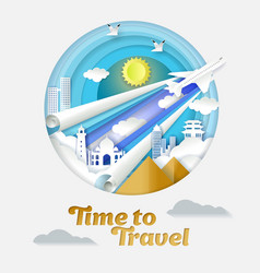 time to travel paper cut vector image