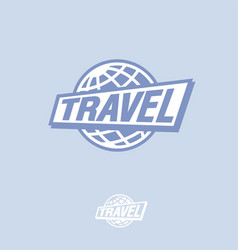travel logo blue globe and letters vector image