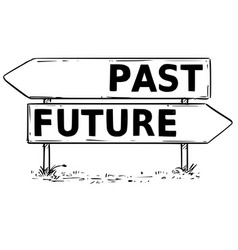 Two arrow sign drawing past or future decision vector