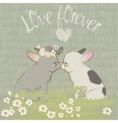 two cute cartoon bulldogs in love vector image