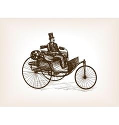 Vintage gentleman drive car sketch vector