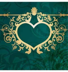 Vintage valentine background with golden heart vector