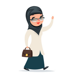 Walk home treatment female girl cute arab doctor vector