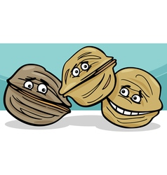 walnuts nuts cartoon vector image