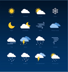Weather forecast meteorological icons vector
