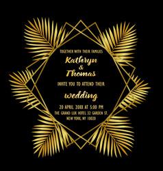 wedding luxury tropical invitation card vector image