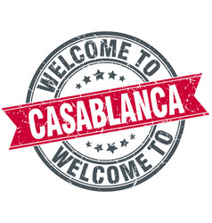 Welcome to casablanca red round vintage stamp vector