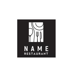wine glass plate fork knife dining restaurant logo vector image