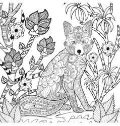 Zentangle stylized fox in garden vector