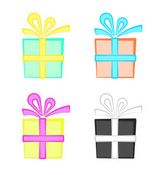 set of cute colorful cartoon present boxes gift vector image