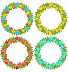 Set of round wreaths of yellow blue and red vector