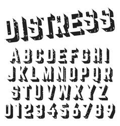 alphabet font template distressed texture design vector image