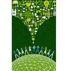 Green people eco World vector image
