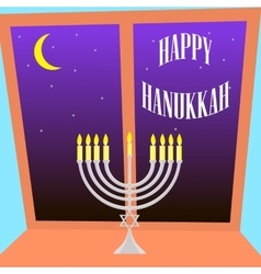 Happy Hanukkah greeting card design vector image