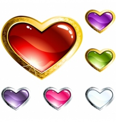 heart-shaped buttons vector image vector image