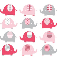 Pink Cute Elephant Collections vector image
