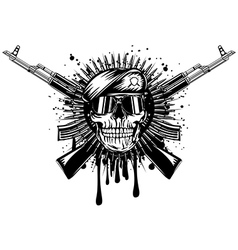 skull in beret crossed assault rifle on grunge vector image vector image
