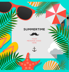 summertime background with palms leaf vector image vector image