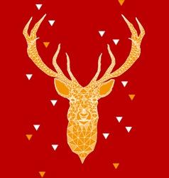 Christmas deer head with geometric pattern vector image vector image