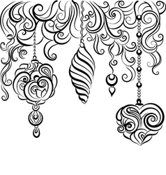 Christmas hand drawn background with decorative vector image