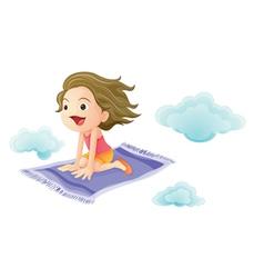 Girl on magic carpet vector image