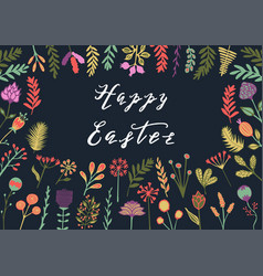 happy easter greeting card with hand drawn vector image vector image