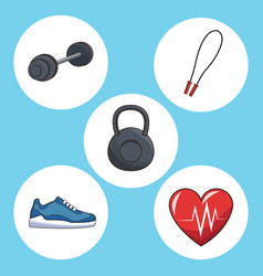 healthy lifestyle concept sport icons vector image
