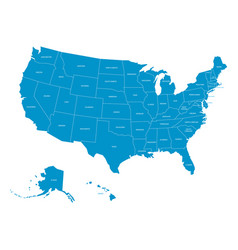 Map of united states of america with state names vector