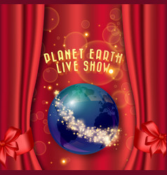 red curtain and planet earth with stars theater vector image vector image