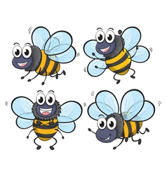 Four bees vector image vector image