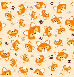 pattern with face fox vector image vector image