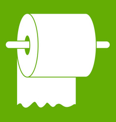 Roll of toilet paper on holder icon green vector