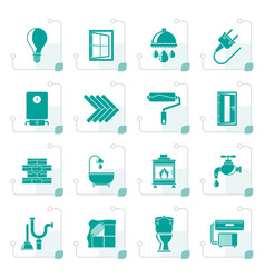 stylized construction and home renovation icons vector image