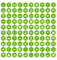 100 coffee cup icons hexagon green vector