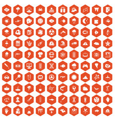 100 research icons hexagon orange vector