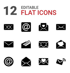12 envelope icons vector