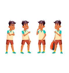 arab muslim boy schoolboy kid poses set vector image