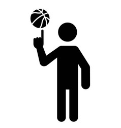 Basketball player spinning ball with finger vector