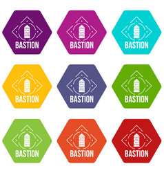 bastion icons set 9 vector image