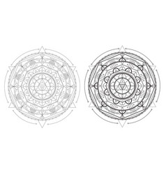 beautiful geometry mandala with repeated elements vector image