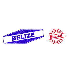Belize unclean badges in circle and hexagon forms vector