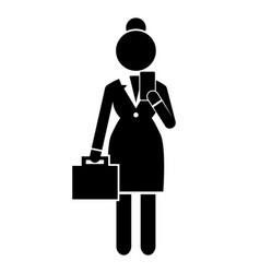 black silhouette businesswoman with smartphone and vector image