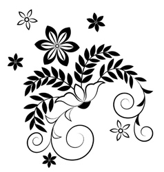 black silhouette flowers isolated on white vector image
