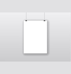 blank white hanging frame with realistic shadow vector image