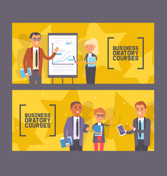 Business oratory courses set banners vector