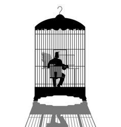 businessman working on computer in the bird cage vector image
