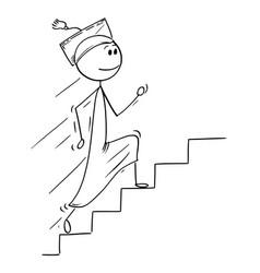cartoon of graduate man running up stairs vector image