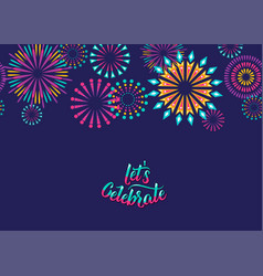 celebrate background with fireworks border vector image